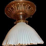 Opalescent Beaded Art Glass Shade on Brass Flush Mount Ceiling Light