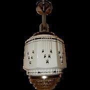 Art Deco Hanging Pendant Ceiling Light Fixture w Wedding Cake Shade