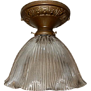 Holophone XE-100 Glass Shade in Decorated Brass Ceiling Fixture