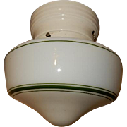 Vintage Milk Glass Shade with Original Green Stripes on Porcelain Fitter