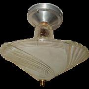 Art Deco Flush Mount Ceiling Light Fixture w Original Satin Swirl Shade