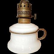 Miniature Kerosene Oil Lamp - Embossed NUTMEG Milk Glass & Brass Finger Holder