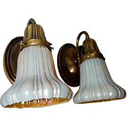 Brass Sconces Sheffield Pattern with Steuben Art Glass Shades Matching Pattern