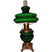 REDUCED Emerald Green Cased Parlor G.W.W. Gone With the Wind Kerosene Oil Lamp