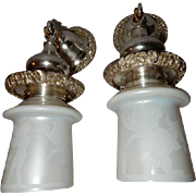 Cast Bronze Silver Plate Sconces with Steuben Calcite Acid Cut Back Art Glass Shades with ...