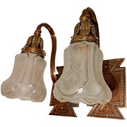 Cast Bronze Arts and Crafts Sconces w Etched Shades