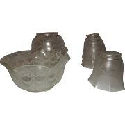 "Set of Four 4"" Silver Etched Gas Shades w Four Matching 2 1/4"" Silver ..."