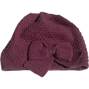 SOLD Women's Purple Wool/Cashmere Knit Cap with Stylish Bow