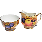 REDUCED Vintage Aynsley Open Sugar Bowl & Creamer Set with Fruit Motif