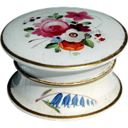 REDUCED Floral Cosmetic Jar with Lid, c.1850