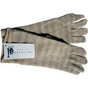 SOLD Pale Blue & Cream Striped Long Gloves for Women by Portolano