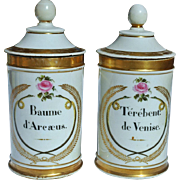 REDUCED Pair Decorative Old Paris Porcelain Apothecary Jars c.1810-1830