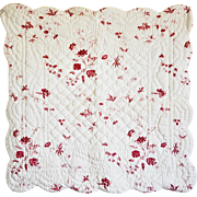 REDUCED Pair Classic French Toile Quilted Pillow Shams with Rear Ties