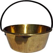REDUCED Vintage Brass Jelly Pan with Fixed Iron Handle