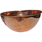 SOLD Vintage Hand-Pounded Copper Mixing Bowl with Rolled Edge