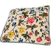 REDUCED Vintage Floral Needlepoint Pillow with Zippered Blue-Green Velvet on Reverse