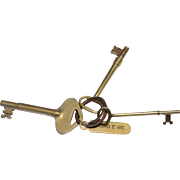 REDUCED Three Old Brass Keys on a Crusty Brass Key Ring