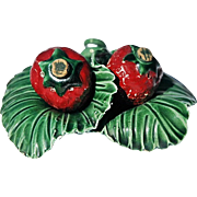 REDUCED Vintage Ceramic Salt & Pepper Set as Strawberries Nesting on Green Leaves Base