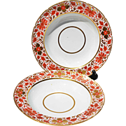 REDUCED Sophisticated Pair of 19th Century Japanese Red and Gold Shallow Rim Soups