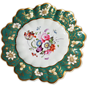 REDUCED Single English Coalport Green & Gold Floral Plate with Scalloped, Undulating Edges
