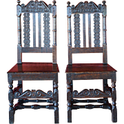 REDUCED Pair English Oak/Elm Joined Hall Chairs Carved '1707'