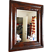 REDUCED Mid-19th Century OG Wooden Mirror with Veneers, Beveled Glass