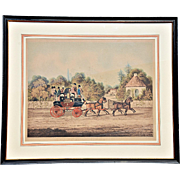 "REDUCED ""Edinburgh Express,"" a Mid-19th Century Hand-Colored Coaching Print from Engrav"
