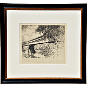 "REDUCED ""Old Wooden Covered Bridge Spans Quiet Stream"": An Etching by Louis Orr"