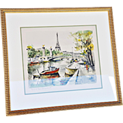 """View of Le Pont Alexandre III"" Vintage Mid-Century Print of Watercolor and Ink Original ."