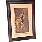 "REDUCED ""The Bookworm"" Hand-Painted Lithograph by Claude Thielley (1811-1891) after ..."
