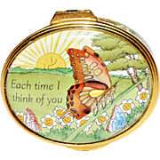 "REDUCED Vintage Halcyon Days English Enamel Box: ""Each Time I Think of You…I Smile"""