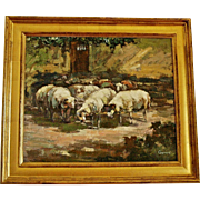 REDUCED 'Sheep Herd at the Cottage Gate': An Impressionist Style Oil on Canvas by Gerard
