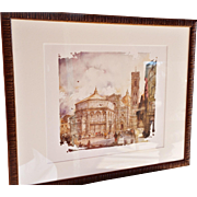 """Iconic Views of Tuscany – Firenze, Basilica San Croce,"" #5 of 6 Colored Prints ..."