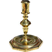 REDUCED Single Early 18th Century Brass Octagonal Base Candlestick
