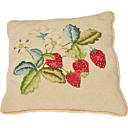 REDUCED Vintage Hand-Stitched Needlepoint Pillow of Strawberries