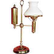 REDUCED Old Brass Student Lamp with White Glass Shade