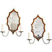 REDUCED Pair Mahogany Veneer Sconces with Leaf-Form Mirrored Back Plates. Early 19th C