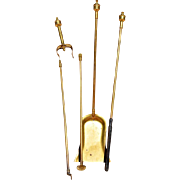 REDUCED Smaller Scale 3-Piece Brass Fire Tool Set, Late 19th Century