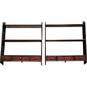 Rare Pair of Georgian Mahogany 3 Tier Hanging Shelves with Hand Carved Fretwork Supports