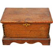 REDUCED Antique American Pine Document Box/Miniature Chest, Newer Bracket Foot Base