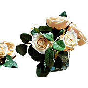REDUCED Champagne Faux Roses Secured with Illusion in Modern Square Glass Vase