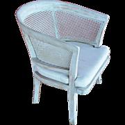 Vintage Round Back Wood & Cane Armchair with Custom Cushion