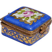 SOLD Genuine Limoges Small Square Blue Snuff Box, Floral and Gilt Decoration