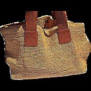 SOLD Vintage Helen Kaminski Straw Bag with Soft Leather Handles