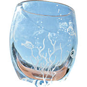 REDUCED Vintage 'Fish in the Sea' Etched Crystal Vase