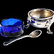 REDUCED Vintage Open Sterling Salt Cellar, Cobalt Glass Liner, Single Sterling Spoon