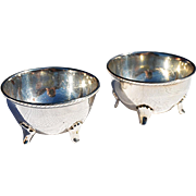REDUCED Vintage Custom Made Pair Sterling Four-Legged Salt Cellars from Taxco, Mexico