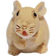 SOLD Vintage Carved & Hand-Painted Scottish Wooden Bunny, 1983
