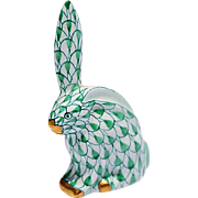 SOLD Vintage Herend Green Fishnet Bunny, One Ear Erect & the Other Down