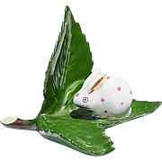 SOLD Pink & White Herend Bunny On Shiny Green Leaf Place Card Holder